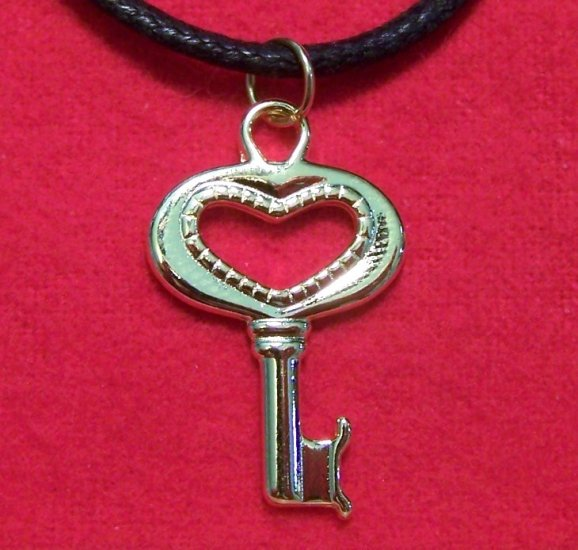 Gold Plated Pewter  Key to the Heart  Pendant Necklace