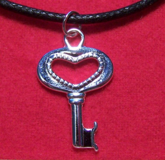 Silver Plated Pewter Key to the Heart Pendant Necklace