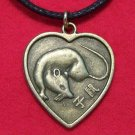 Chinese Zodiac Heart Rat Pendant Cotton Cord Necklace