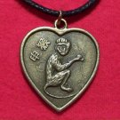 Chinese Zodiac Heart Monkey Pendant Cotton Necklace