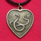 Chinese Zodiac Heart Snake Pendant Cotton Necklace