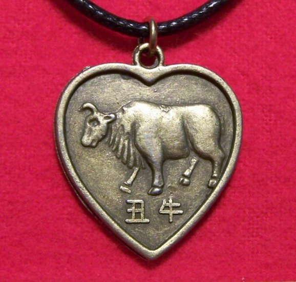 Chinese Zodiac Heart Ox Pendant Cotton Cord Necklace
