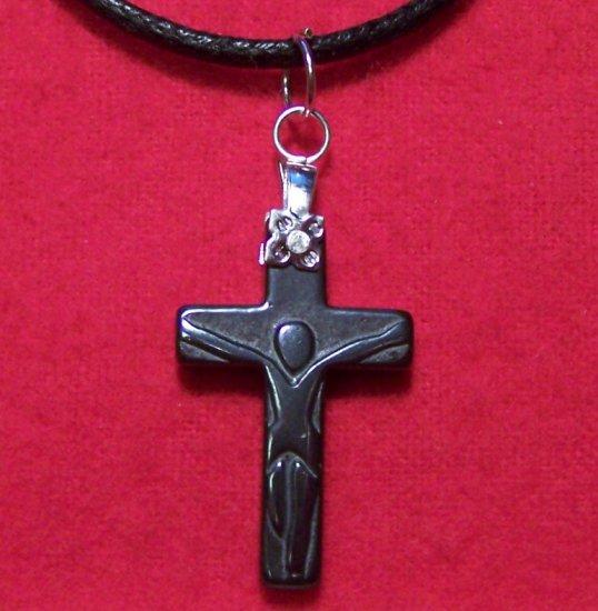 Hemalyke Small Crucifix Pendant Cotton Cord Necklace