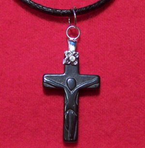 Hemalyke Small Crucifix Pendant Cotton Cord Necklace