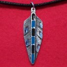 Antiqued Pewter Feather Tribal Pendant Necklace U.S.A.