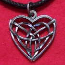 Fine Pewter Celtic Knot Heart Pendant Cotton Cord Necklace