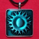 Pewter Green Celtic Sun Pattern Square Pendant Necklace