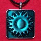 Pewter Green Celtic Sun Pattern Square Pendant Necklace