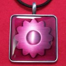 Pewter Fuchsia Flower Pattern Square Pendant Necklace