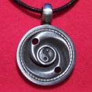 Antiqued Pewter Yin Yang Swirl Asian Pendant Necklace