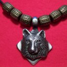 Antiqued Pewter Bear Face Head Square Pendant Necklace