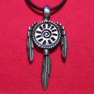 Pewter Tribal Mandala with Feathers Pendant Necklace