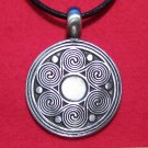 Antiqued Pewter Spiral Wave Sun Pendant Necklace