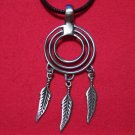 Pewter Circles with Feathers Tribal Pendant Necklace