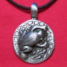 Pewter Frog with Green Eyes Reptile Pendant Necklace