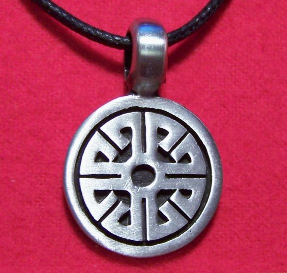 Silver Tone Pewter Tribal Wheel Coin Pendant Necklace