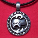 Antiqued Pewter Zuni Heartline Bear Tribal Pendant Necklace
