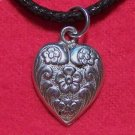 Antiqued Pewter Love Heart  Flower Pendant Necklace U.S.A.