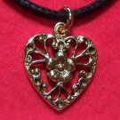 Gold Tone Pewter Victorian Era Style Heart Pendant Necklace