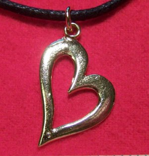 Antiqued Gold Tone Pewter True Love Heart Pendant Necklace