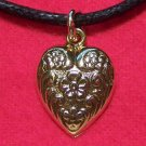 Gold Tone Pewter Love Heart Flower Pendant Necklace U.S.A.