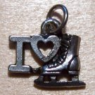Pewter I LOVE Skating Charm Lead Safe Made in the U.S.A.