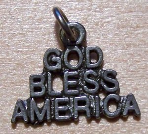 Pewter GOD BLESS AMERICA Charm Lead Safe Made in U.S.A.