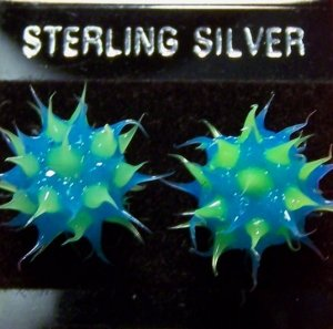 Acrylic Blue & Green .925 Sterling Silver Stud Earrings