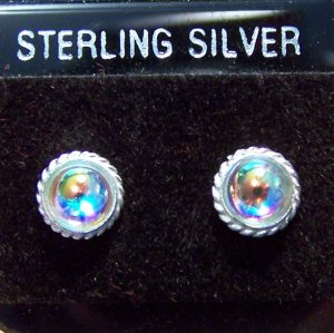 Elegant AB Glass .925 Sterling Silver Stud Earrings Thailand