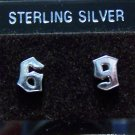 .925 Sterling Silver 6 & 9 Stud Earrings Made in Thailand