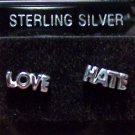 .925 Sterling Silver LOVE & HATE Stud Earrings