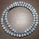 Grade A White Cat's Eye Glass Necklace Made in the U.S.A.