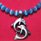 Baby Blue Cat's Eye Necklace with Pewter Love Dolphins