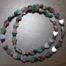 Natural Stone Fancy Jasper with Hearts Necklace U.S.A.