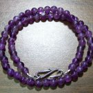 Natural Stone Amethyst Necklace with Sterling Silver Clasp