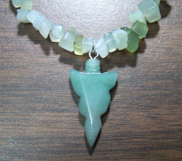 Peridot - Quartz Necklace with Green Aventurine Arrowhead Pendant