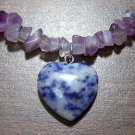 Amethyst Necklace with Sodalite Heart Pendant U.S.A.