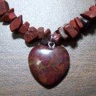 Brecciated Jasper Stone Necklace & Heart Pendant U.S.A.