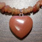 Natural Stone Red Aventurine Necklace & Heart Pendant