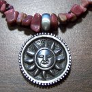 Rhodonite Stone Necklace with Pewter Tribal Sun Pendant