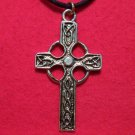 Gold Tone Pewter Traditional Celtic Cross Pendant Necklace