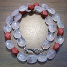 Rose Quartz & Red Jasper Necklace with Sterling Silver Clasp