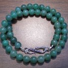 "Green Aventurine 16"" Necklace with Sterling Silver Clasp U.S.A."