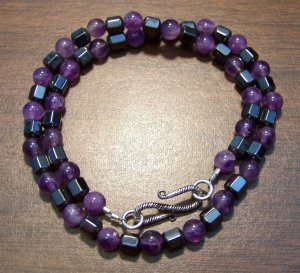 Amethyst & Hemalyke Necklace with Sterling Silver Clasp