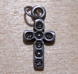 Pewter Gothic Cross Charm Lead Safe Made in the U.S.A.