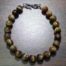 Tiger's Eye Natural Stone Bracelet with Sterling Silver Clasp