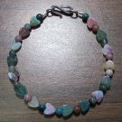 Fancy Jasper with Hearts Stone Bracelet Sterling Silver Clasp
