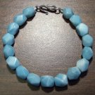 Amazonite Faceted Natural Stone Bracelet Sterling Silver Clasp