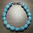 Amazonite Faceted Stone Bracelet Sterling Silver Clasp U.S.A.