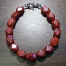 Red Jasper Faceted Stone Bracelet Sterling Silver Clasp